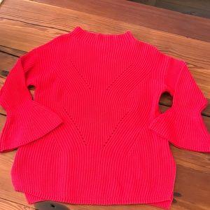 LOFT Red knit sweater 3/4 bell sleeve
